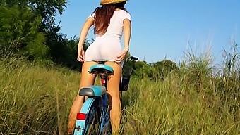 NO PANTIES Biking to my hidden SunBath spot# My PUSSY like Sun Tanning:)