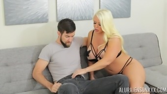 Blonde MILF Alura Jenson wants cum all over her huge breasts