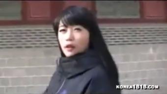 Busty korean escort strips in public parking lot