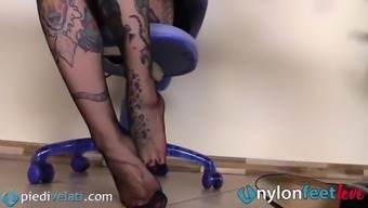 A look at your Tattoed secretary feet in pantyhose
