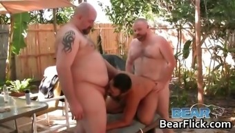 Attractive gay bears fucking inside the back yard