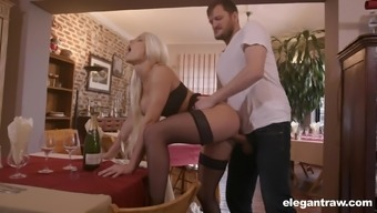 Hardcore missionary and doggy fuck with blonde slut Blanche Bradburry