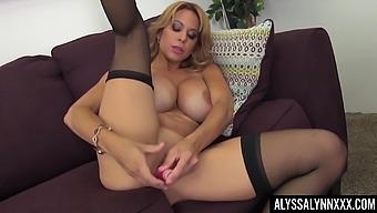 Big titted MILF Alyssa Lynn masturbating with her favorite sex toy