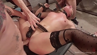 AJ Applegate gets her wet beaver stuffed by a couple of horny dudes