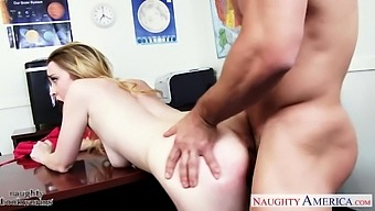Pretty student intern Alexia Gold shows her skills to handsome young boss Johnny Castle