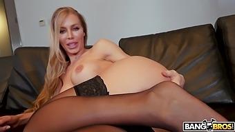 Naughty dude masturbates and turns on sexy mature Nicole Aniston