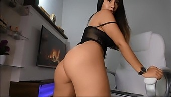 Sexually Frustrated Brunette Masturbates On A Chair