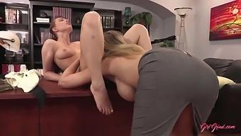 Lesbian Boss Julia Seduces Nurse Aidra Fox