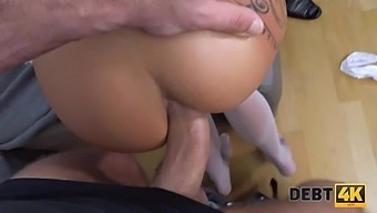 DEBT4k. Debt collector fucks the bride in white dress and stockings