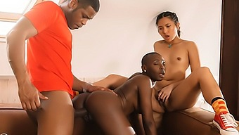 African Black babe and SE Asian threesome