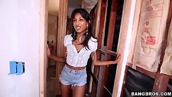 Small tits ebony girl Adriana Malao spreads legs to be fucked