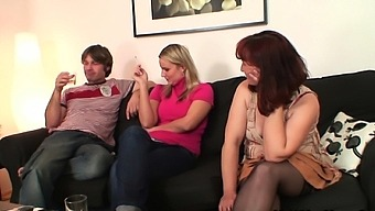 Wife watching her old mother riding hubby's dick