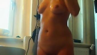 my blonde naked stepmom blows dry her hair