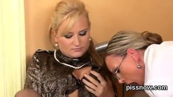 Astonished viewer in lingerie is geeting urinated on and drilled