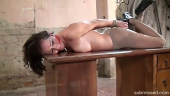 Involved nude dame Adel Sunshine is lying on the desk