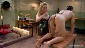 stud gets gagged and fucked in butt by spiteful lady with strapon
