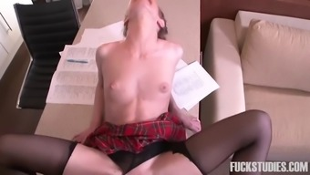 slender usrr school bones along with pigtails gets fucked by her english language tutor