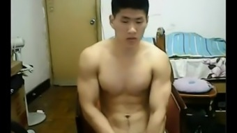 Heavy Chinese lump takes off his clothes and bad boys off his junk