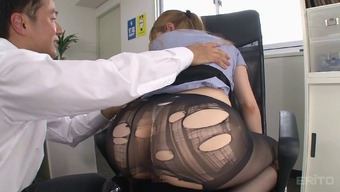 Pulling way up her dark colored pantyhose while you are fucking the counter