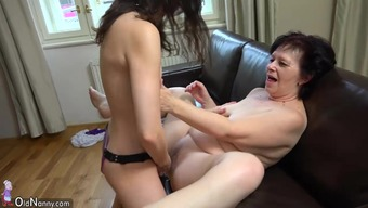 OldNanny Tubby grow older and cute youngster performs with the use of strapon