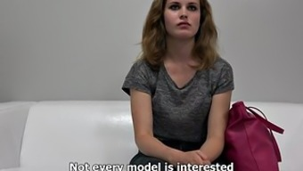 Naive curly blond teases with her entire body on driving them away