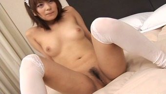 Eager Japanese maid Akane Mochida gets her shaved pussy tapped