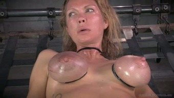 Major breasted mommy along with nipple clamps on and gets her muff toyed