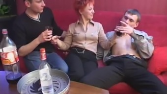 Over the course of occasion a redheaded MILF fights four gentlemen directly