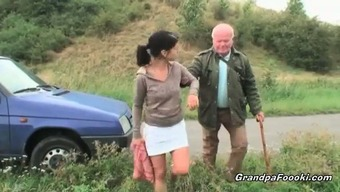 Gorgeous dame seduces grand father on the highway