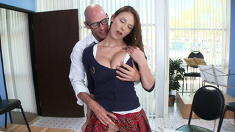Big tits dame Madison Dog plays the flute and face fucks major penis of their instructor
