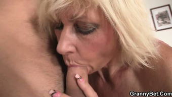 Blond allows him drill her old take