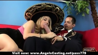 Great blonde girl does blowjob and handjob for this language