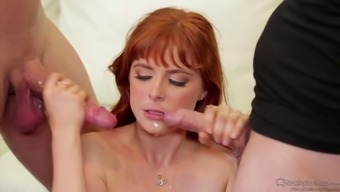 Guy posses his sizzling redheaded partner with his ally