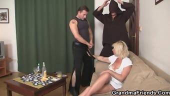 Threesome fucking with old moaner
