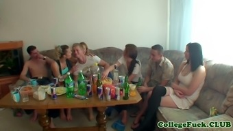 fellas fuck their own bitches on couch after smashed champagne