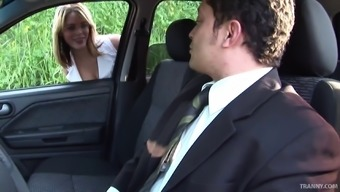 Pricey tranny prostitute gets butt fucked using a business man