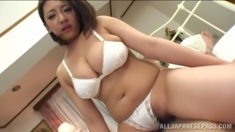 Plump Japanese people babe gets her titties caressed while being nailed hard