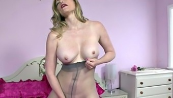 Girl With the use of Pantyhose Acts With the use of Herself