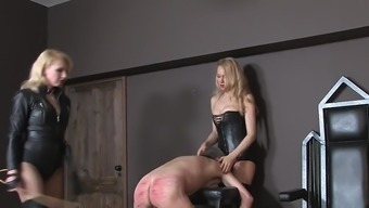 Two different blond mistresses beating mens machine 01