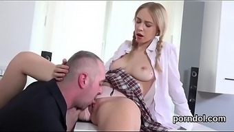 Gorgeous bookworm is attracted and screwed by her mature trainer