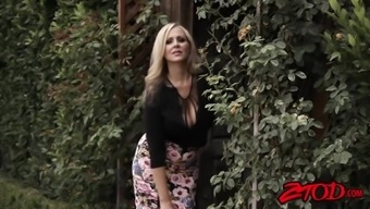 big titted milf julia ann teases before using stiff pole