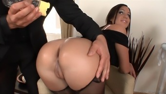 A great maid gets her booty oiled over and defeated by her supervisor