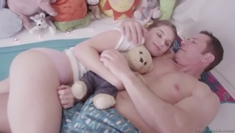 Barely permissible teenager Alice March is having intercourse with her perverted stepdad
