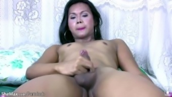 naughty ladyboy movements cock while petting her tight butt