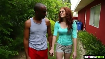 Whitish brilliant brunette Alice Red goes interracial right outdoors to become fucked clearly