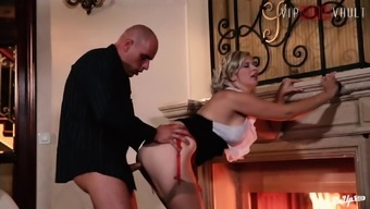 VIP SEX VAULT - Classy Babe Fucks With BF By The Fireplace